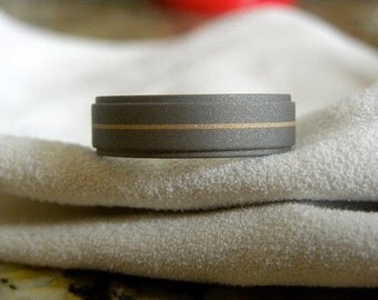 Titanium Ring or Wedding Band with Solid Yellow Gold Pinstripe, Sandblasted