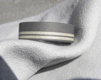 Titanium Ring Offset Silver Stripe Inlays, Wedding Band, Sandblasted Finish