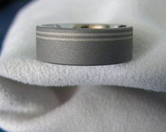 Ring or Wedding Band, Offset White Gold Pinstripes, Sandblasted