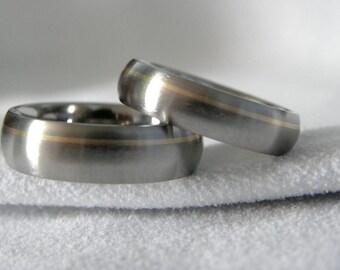 Titanium Ring SET. Wedding Bands, Offset Yellow Gold Pinstripe, Satin