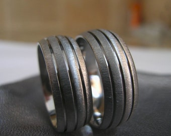 Titanium Ring SET, Wedding Bands, Domed Grooved Rings, Frosted
