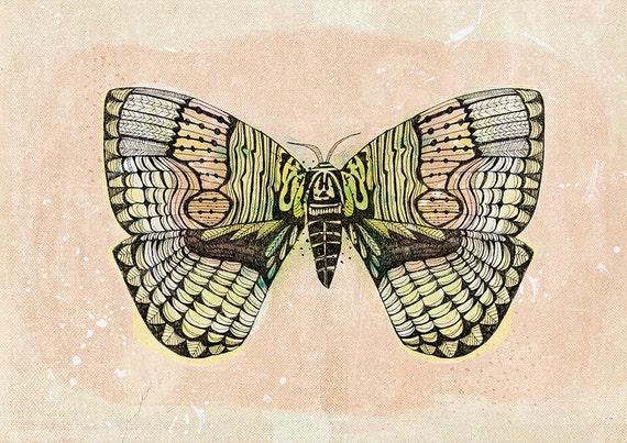 SALE Monochrome Moth Archival Wall Art Print