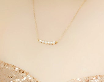 Delicate Bridesmaid Freshwater Pearl Bar Necklace