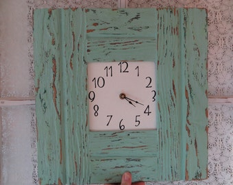 Rustic Beach Cottage Wood Wall Clock Large