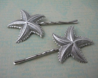 Silver Starfish Bobby Pin Nature Beach Ocean Hair Accessories Star Fish Hair Clip Summer Water Outdoor Wedding Large Solid Metal
