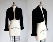 1980s vintage black velvet cropped bolero jacket / xs - s