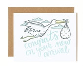 Congrats On Your New Arrival Letterpress Card//1canoe2