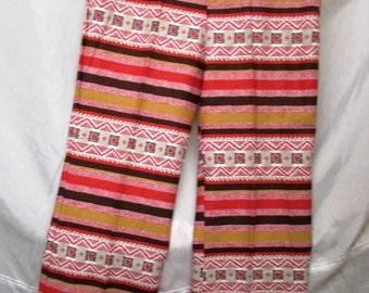Vintage 1970's Pant Hip Hugger Bell Bottom Cotton Colorful Horizontal Stripe & Pattern Pants in Red White and Brown