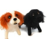 TWO personalised needle felted dogs  - needle felted original soft sculpture -  small size - king charles spaniel  - cocker spaniel