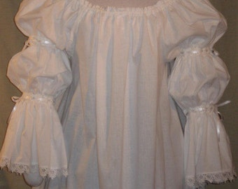 DDNJ Renaissance 2 tier Chemise SCA Plus Custom Made ANY Size Goth Gypsy Pirate Witch Vampire Anime Costume theatrical larp Medieval Blouse