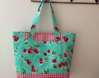 Beth's Retro Cherries Oilcloth Multi Market Tote Bag