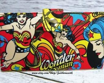 Handmade Long fandom geek Wallet  BiFold Clutch - Vegan Wallet -  WW allover Super Hero in action wallet or half size unisex wallet