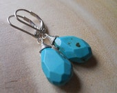 Turquoise Earrings, Natural Heart Marking Turquoise SPIRAL WRAP Earrings , RARE, Sterling