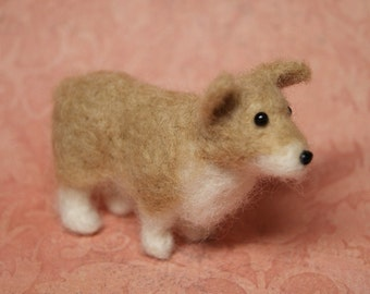 OOAK Needle Felted Corgi Dog Fiber Arts Collectible Miniature Stuffed Animal , Doll's Pet, home decoration, baby gift, nature