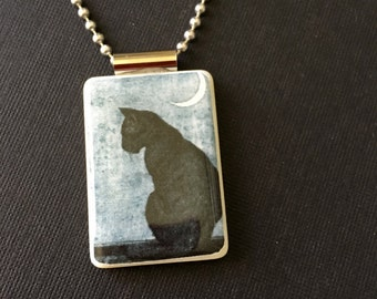black cat jewelry, black cat halloween jewelry, handmade halloween pendant, black cat pendant, mahjong tile necklace, ball chain