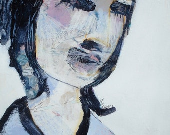 EMERY original painting 'interiors' outsider woman expressionism emotions turbulent seeking peace