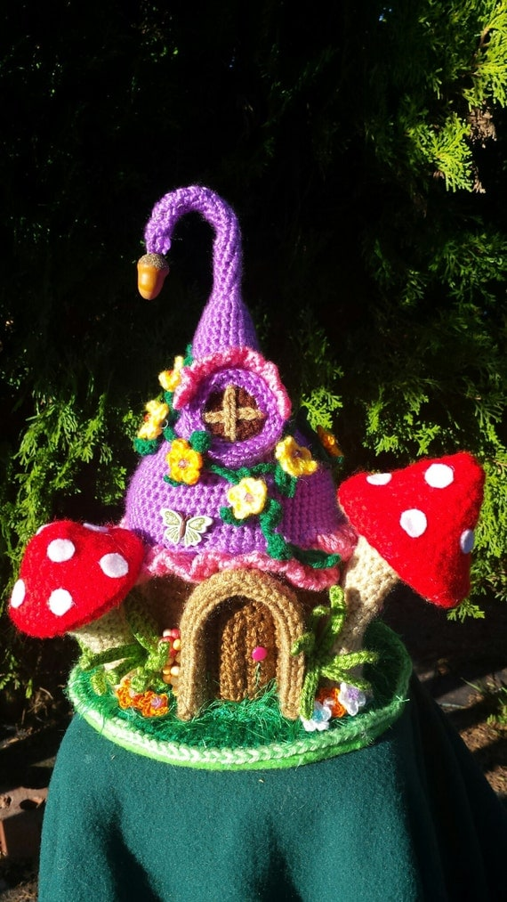 Fantasy Fairy or Gnome Home Handmade crochet OOAK