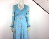 Vintage 1970's Blue Floral & Lace Prairie Renaissance Dress
