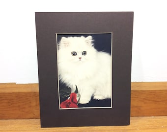 Vintage 1980s Matted Cat Print