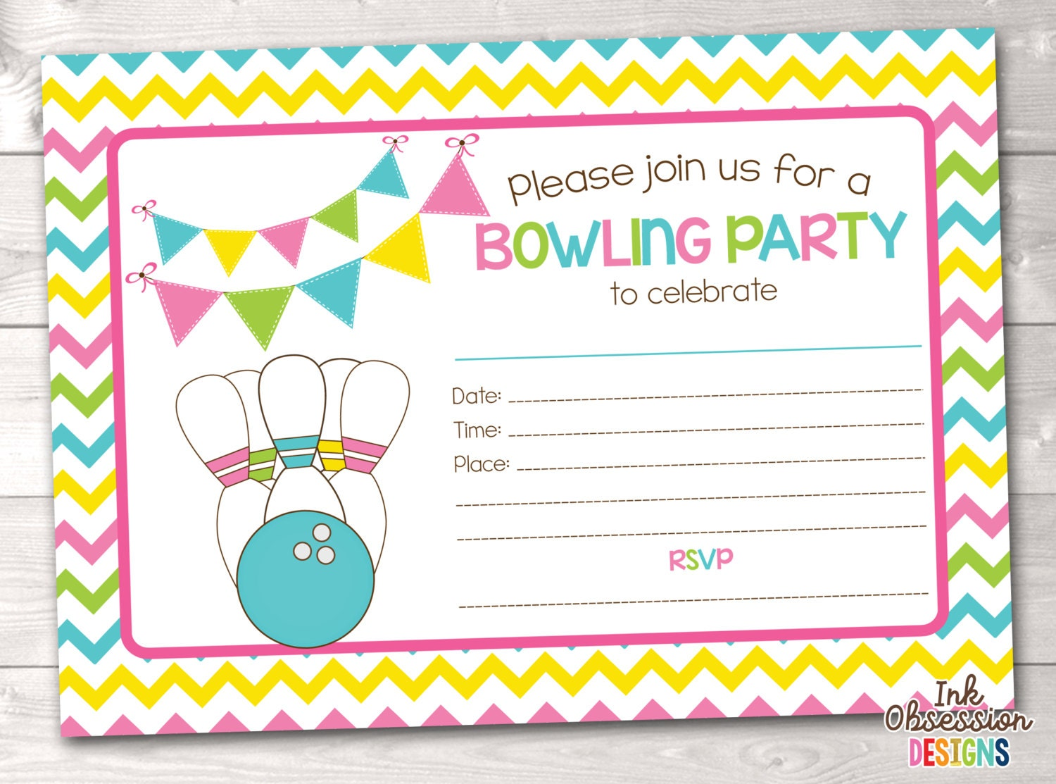 Printable Bowling Party Invitation Fill In The Blank Birthday