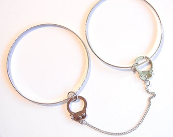 Silver-tone Handcuff Charm with Bangles