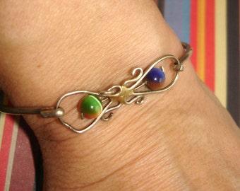 vintage colorful rainbow iridescent bead silver bracelet