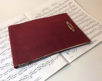 Red leather Song writer's notebook /musical journal/ sheet music journal /music lover's journal