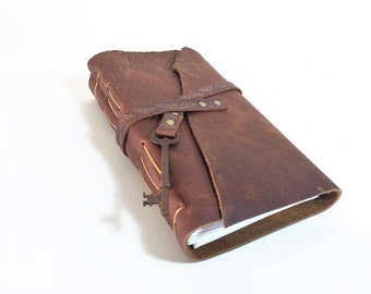 Cowgirl Reclaimed Leather Journal with Antique Skeleton Key