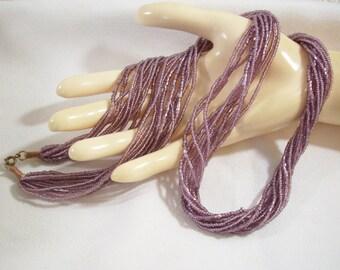 Lavender Seed Bead Necklace Torsade Mauve Vintage 70s