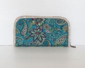 Sale - Teal Prints Wallet, Pouch, Clutch, Cards Holder, Checkbook bag - PIMMY