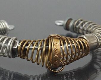 Industrial Bracelet- Upcycled Silver and Brass Found Object Jewelry Cuff Bracelet, Hardware Jewelry, Industrial Jewelry, Steampunk Bracelet