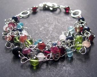 Multicolor Bracelet, Gemstone Bracelet, October Birthstone, Wire Wrapped Multistone Bracelet