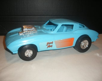 Vintage Plastic Toy  Car Corvette Sting Ray Blue Push Toy