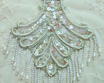 Seafoam Green Pearl Sequin Beaded Embroidered Lace Flower Applique Bridal Scrapbook Clothing