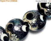 ON SALE 50% OFF Glass Lampwork Bead Sets - Four Sable Celestial Lentil Beads 10204812