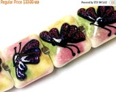 ON SALE 30% OFF Glass Lampwork Bead Set - Four Pink Sparkle Garden Butterfly Pillow Beads 11008414