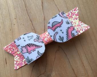 Dinosaur bow, Dinosaur, dinosaur birthday, dinosaur party, dinosaur hair bow, pink dinosaur, dinosaur loot bags, dinosaur girl