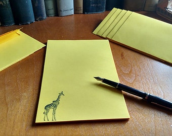 Letter Set Stationery Yellow Circus Giraffe 24 pages and choose your number of envelopes
