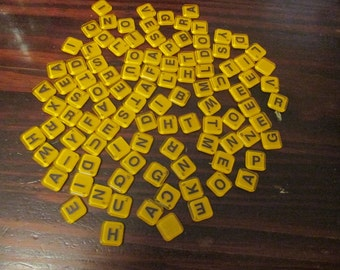 Lot of 100 Amber Yellow Colored Plastic Words with Friends Tiles Plastics Tile