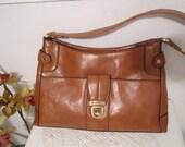 Vegan Shoulder Bag, Tan Brown Bag, Liz Claiborne Shoulder Bag Handbag, Leatherette Classic Bag