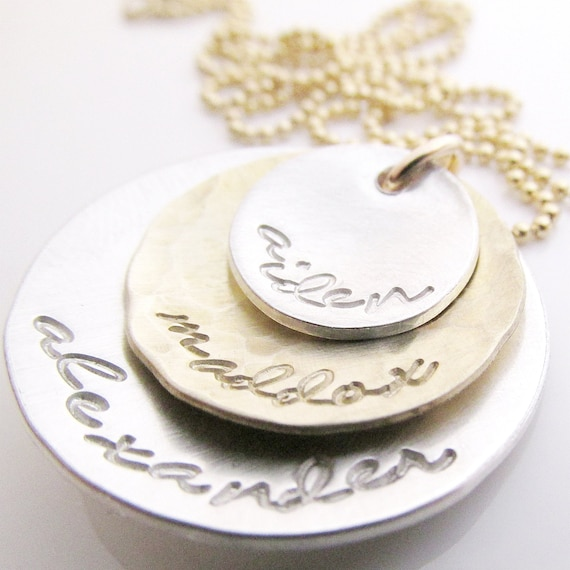 Mother s necklace hand stamped necklace name necklace custom