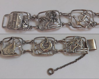 Vintage Walter Lampl nautical sterling silver panel bracelet tourist cruise souvenir 1940s jewelry