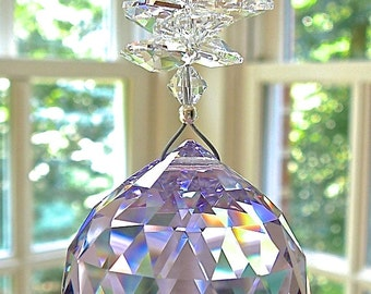 """Large 40mm Violet Swarovski Crystal Ball Suncatcher with Cascade of Clear Swarovski Octagons - """"CATHERINE GRANDE"""" - Available in 10 Colors"""