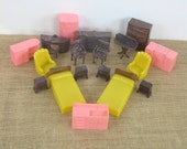 Vintage Plastic Doll House Furniture Toy Marx Litho Pink Brown Yellow Kitchen Bedroom