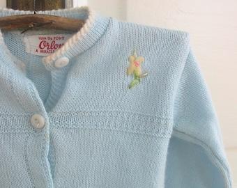 Vintage Baby Infant Sweater Cardigan Clothing Child Blue Girl Knit 6 12 Months Hat Bonnet