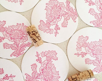 Set of eight Pink Mhendi Lace letterpress coasters