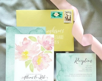 Hand Painted Pink Dahlia Watercolor Wedding Invitations