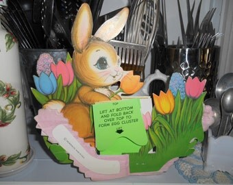 Vintage The Beistle Co Easter Bunny egg and basket Easter honeycomb and cardboard decoration