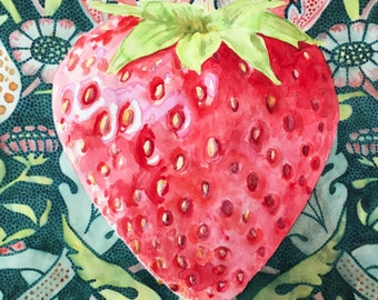 Original watercolor painting strawberry with strawberry thief background wall art by Paige Smith-Wyatt