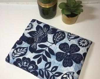 iPad Case, iPad Cover, Tablet Case, Fabric iPad Case, Gift Idea, Navy and Blue iPad Cover